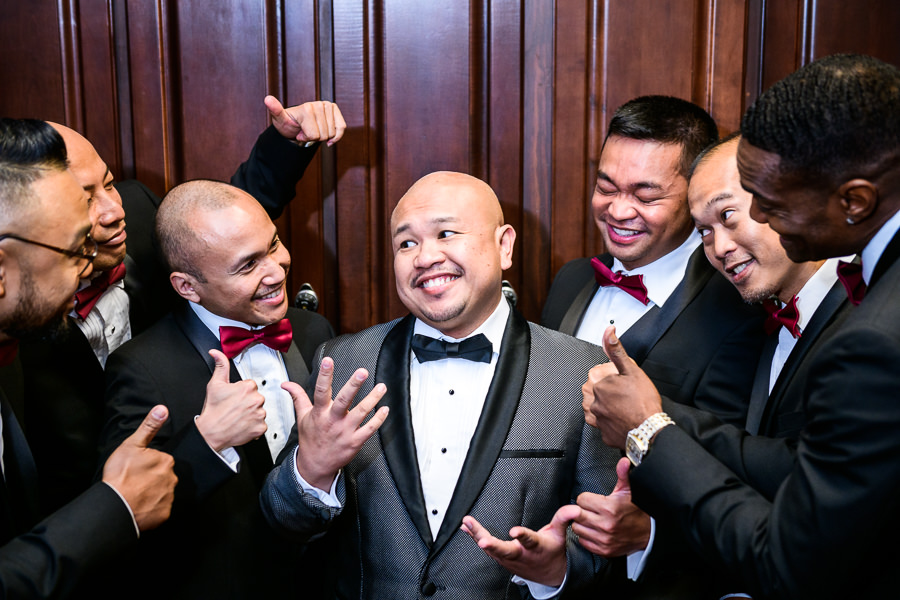 Groom and his Groomsmen cheering, multicultural filipino wedding, Catholic country club wedding, Pensacola Florida, Lazzat Photography
