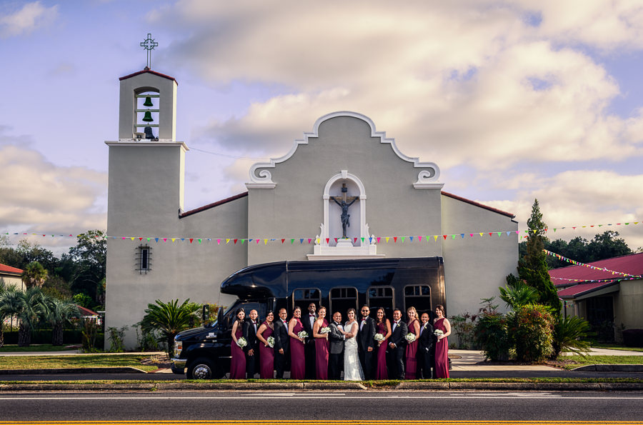 Wedding party in front of the church and limo, multicultural filipino wedding, Catholic country club wedding, Pensacola Florida, Lazzat Photography