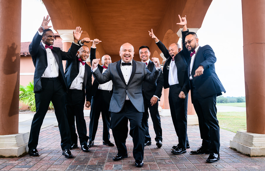 Groom and his Groomsmen cheering outside, multicultural filipino wedding, Catholic country club wedding, Pensacola Florida, Lazzat Photography