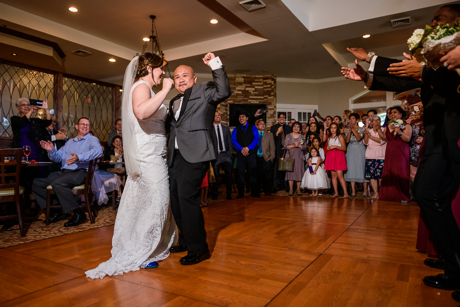Bride and Groom first pump during their first dance, Scenic Hills Country Club, multicultural filipino wedding, Catholic country club wedding, Pensacola Florida, Lazzat Photography
