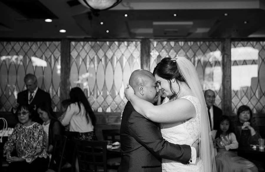 Bride and Groom head to head during their first dance, Scenic Hills Country Club, multicultural filipino wedding, Catholic country club wedding, Pensacola Florida, Lazzat Photography