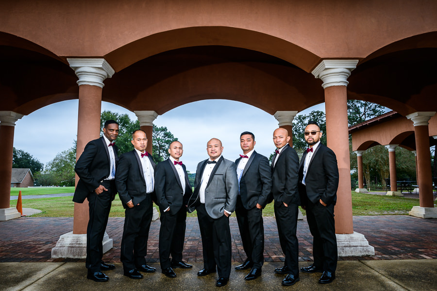 Groom and his Groomsmen outside, multicultural filipino wedding, Catholic country club wedding, Pensacola Florida, Lazzat Photography