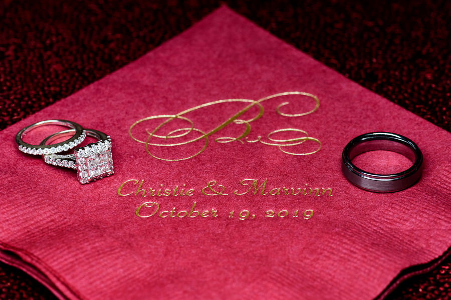 Wedding rings on wedding napkins, Scenic Hills Country Club, multicultural filipino wedding, Catholic country club wedding, Pensacola Florida, Lazzat Photography