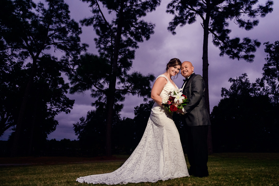 Bride and Groom with purple sky, Scenic Hills Country Club, multicultural filipino wedding, Catholic country club wedding, Pensacola Florida, Lazzat Photography