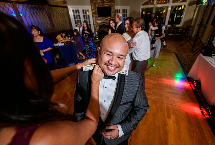 Guest putting money on the Groom, Scenic Hills Country Club, filipino wedding, Catholic country club wedding, Pensacola Florida, Lazzat Photography