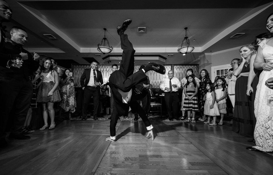 Guest breakdancing, Scenic Hills Country Club, Catholic country club wedding, Pensacola Florida, Lazzat Photography