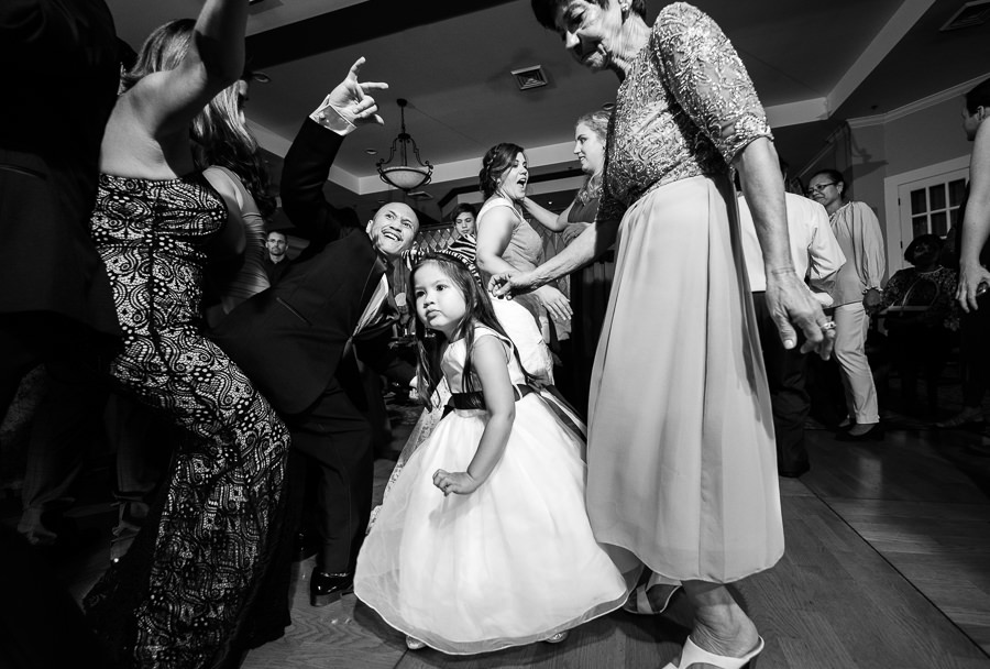 Guests dancing with flower girl, Scenic Hills Country Club, Catholic country club wedding, Pensacola Florida, Lazzat Photography
