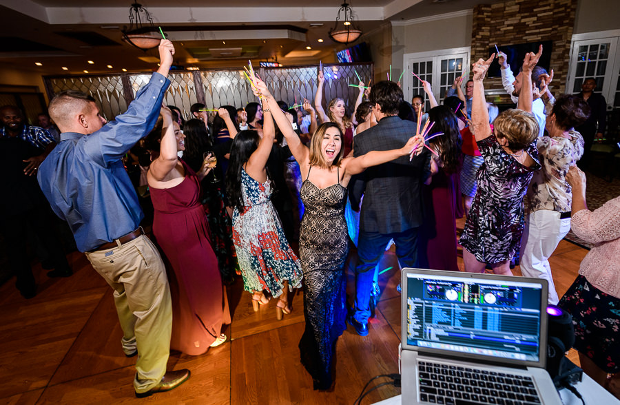 Guests dancing with glow sticks during reception, Scenic Hills Country Club, Catholic country club wedding, Pensacola Florida, Lazzat Photography