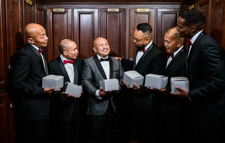 Groom giving his Groomsmen gifts, multicultural filipino wedding, Catholic country club wedding, Pensacola Florida, Lazzat Photography