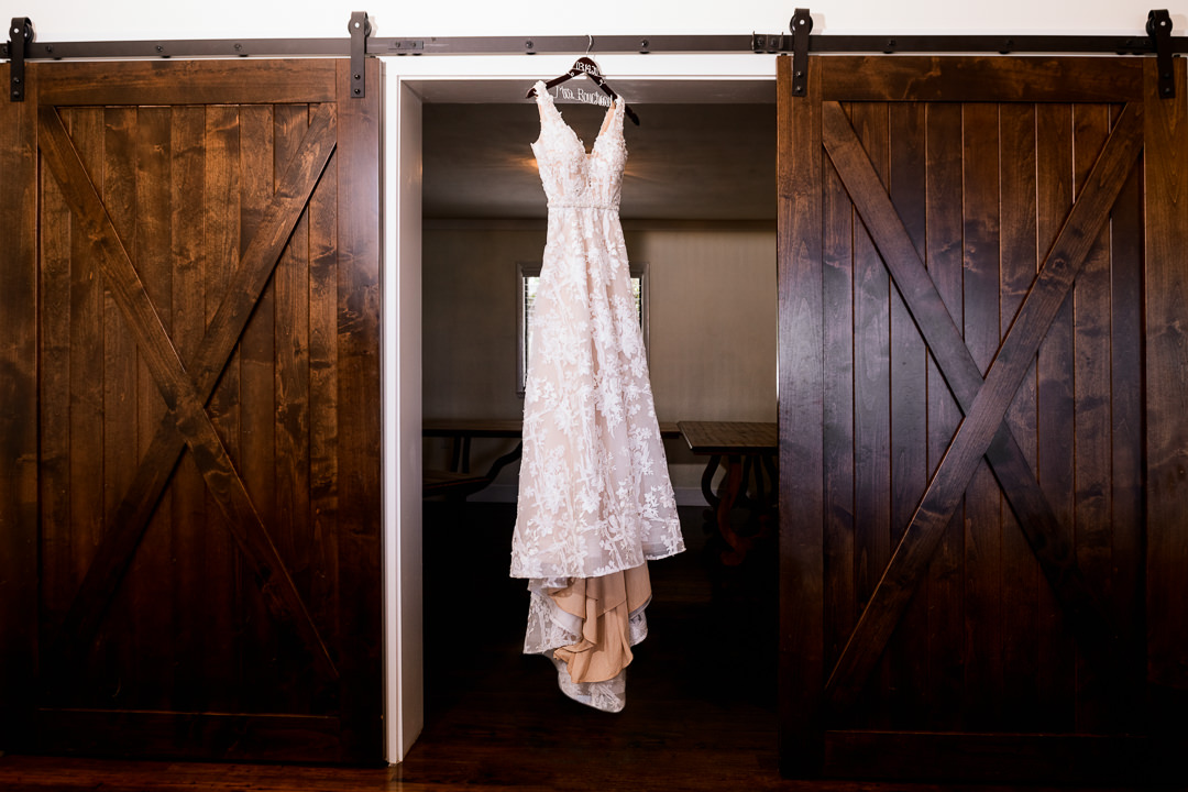 Dress hanging at the Destin Bay House Wedding, An Affair to Remember, Mori Lee Designer Dress, Destin Florida, Lazzat Photography, Florida wedding photographer, Orlando wedding photographer
