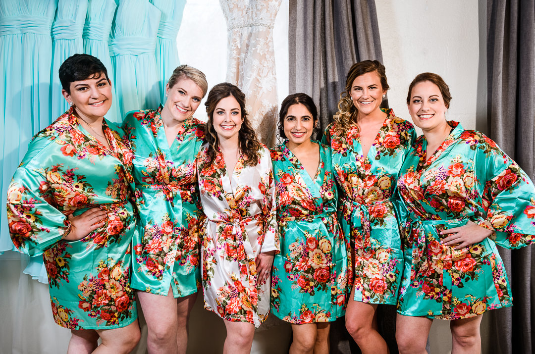 Bride and Bridesmaids in flower robes at the Destin Bay House Wedding, Destin Florida, Lazzat Photography, Florida wedding photographer, Orlando wedding photographer