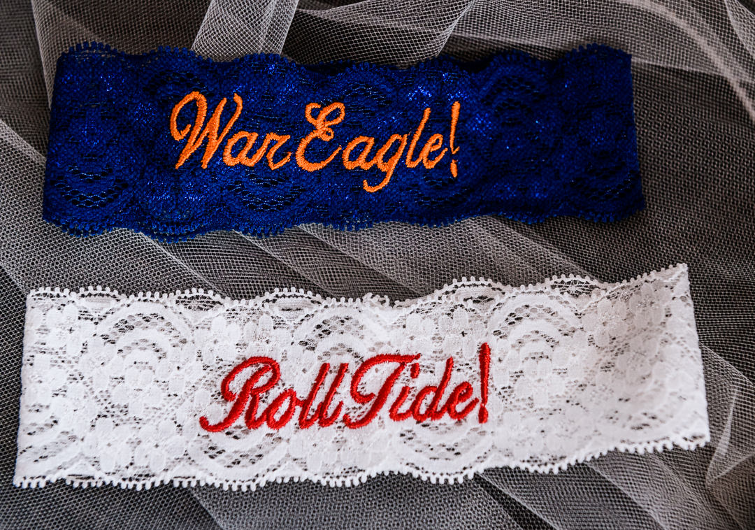 War Eagle garter and Roll Tide garter at the Destin Bay House Wedding, Auburn University wedding details, University of Alabama wedding details, Destin Florida, Lazzat Photography, Florida wedding photographer, Orlando wedding photographer
