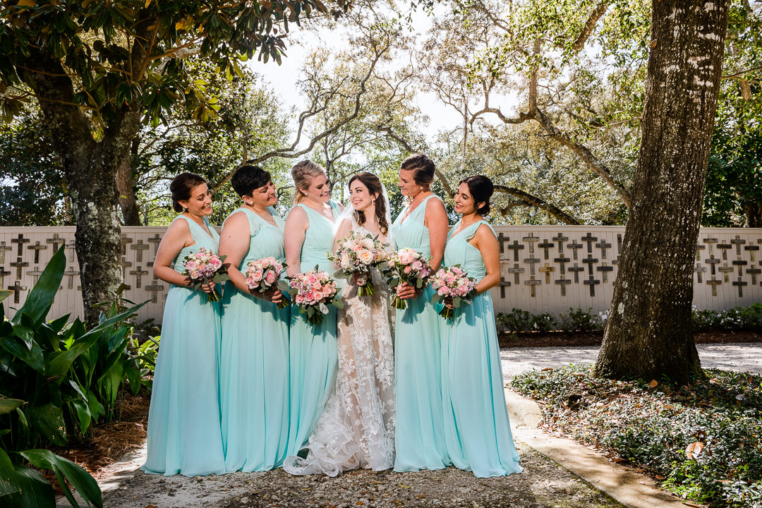 Bride with her Bridesmaids outside the Destin Bay House Wedding, blue Bridesmaid dress, Destin Florida, Lazzat Photography, Florida wedding photographer, Orlando wedding photographer