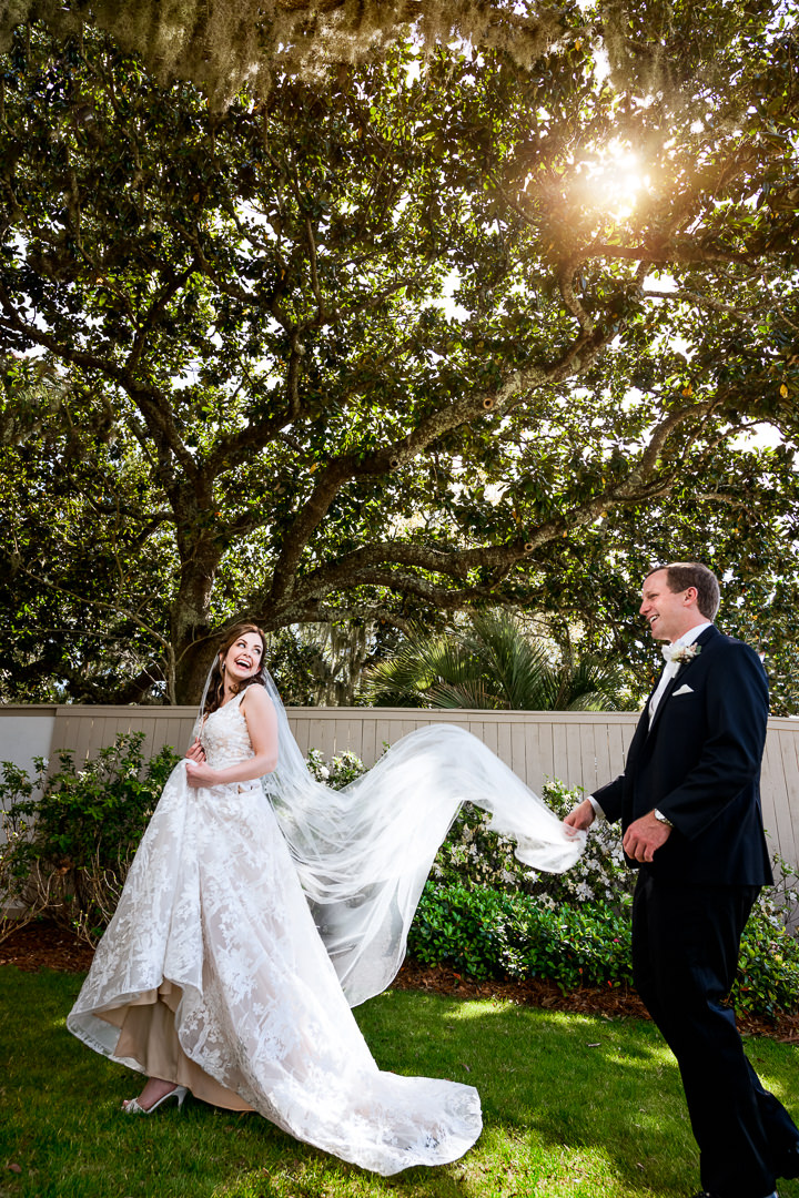 Bride and Groom during the first look outside the Destin Bay House Wedding, Destin Florida, Lazzat Photography, Florida wedding photographer, Orlando wedding photographer