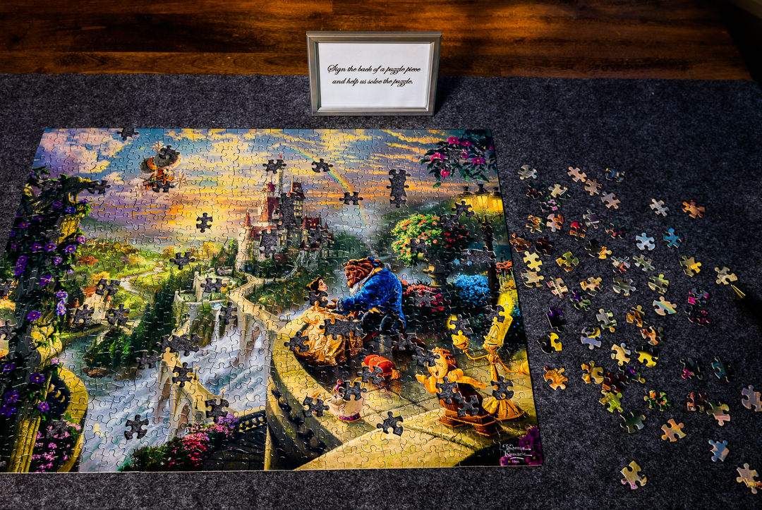 Beauty and the Beast puzzle wedding guestbook, Destin Bay House Wedding, Destin Florida, Lazzat Photography, Florida wedding photographer, Orlando wedding photographer
