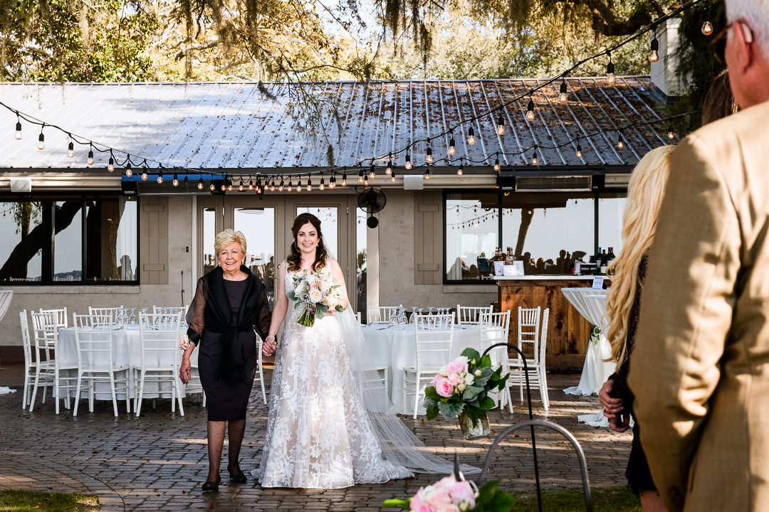 Bride walking down the aisle with her mother, Destin Bay House Wedding, Destin Florida, Lazzat Photography, Florida wedding photographer, Orlando wedding photographer