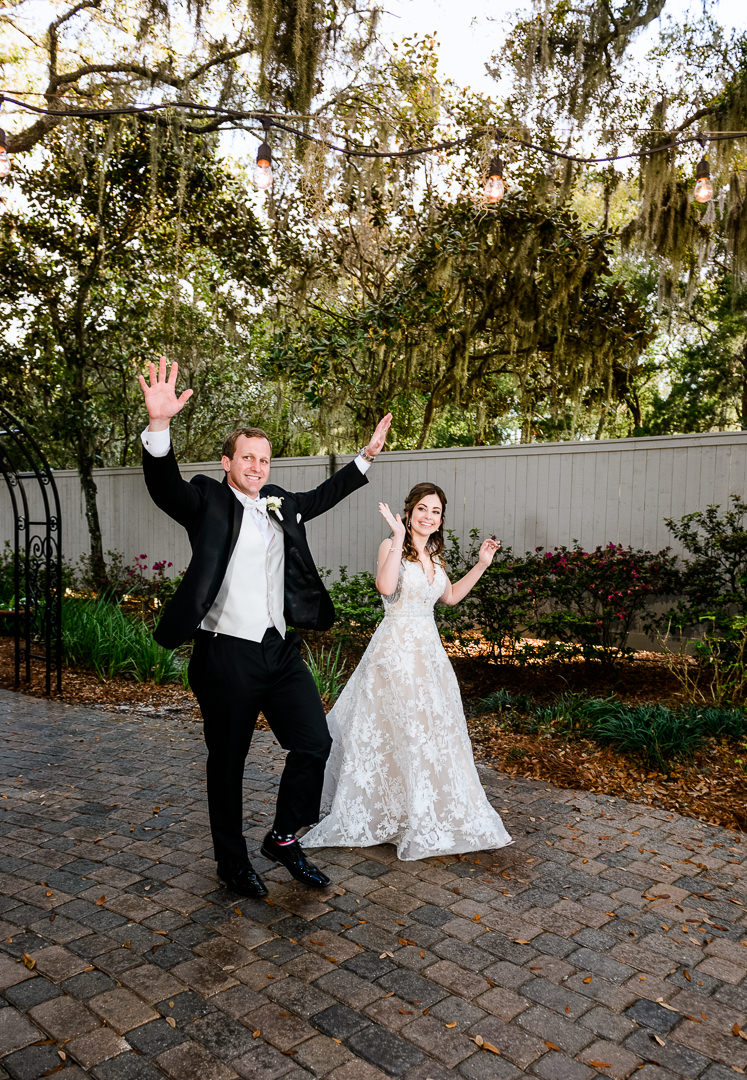 Bride and Groom cheering, Destin Bay House Wedding, Destin Florida, Lazzat Photography, Florida wedding photographer, Orlando wedding photographer