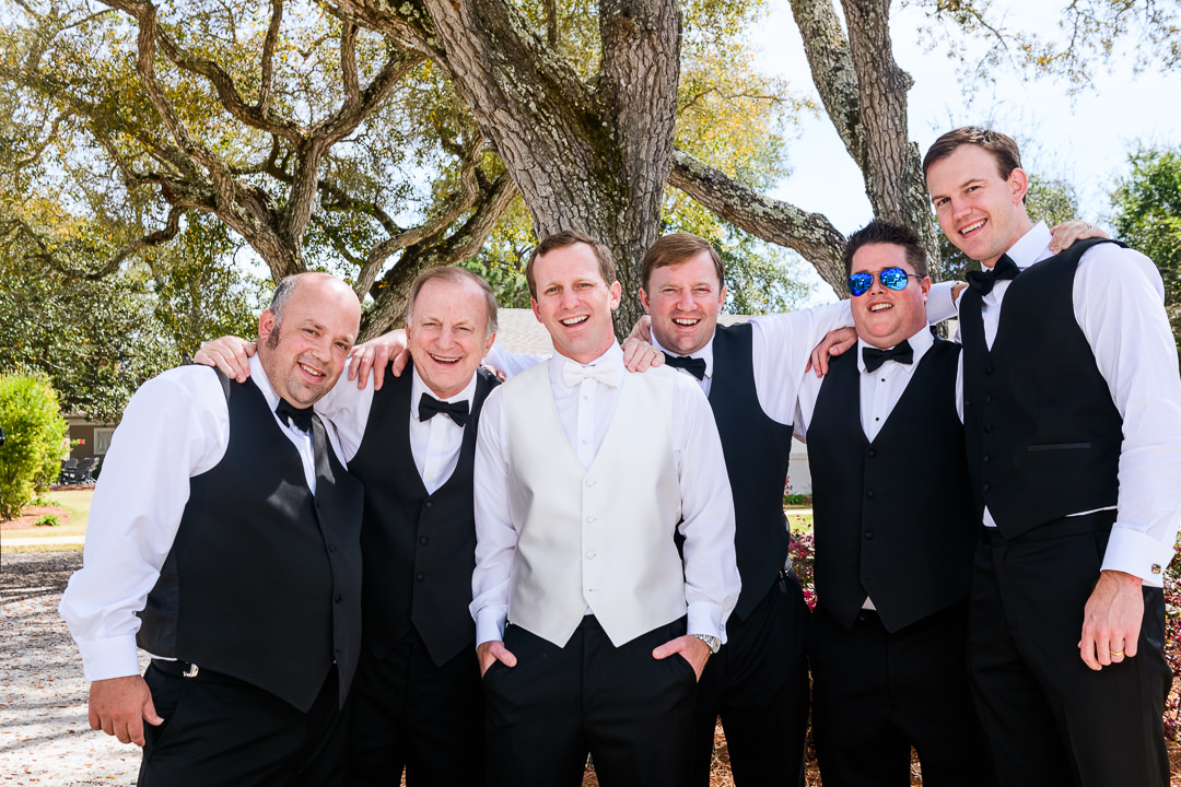 Groomsmen outside at the Destin Bay House Wedding, black tie wedding, Destin Florida, Lazzat Photography, Florida wedding photographer, Orlando wedding photographer