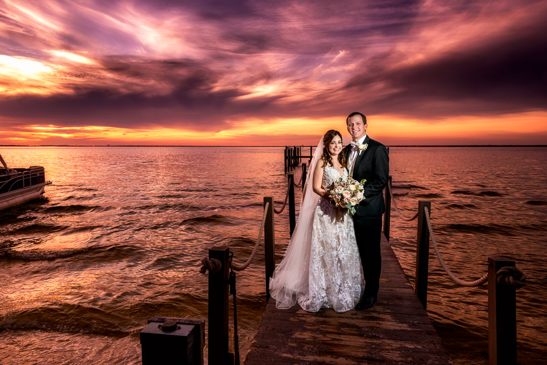 Bride and Groom at sunset on the pier, Destin Bay House Wedding, Destin Florida, Lazzat Photography, Florida wedding photographer, Orlando wedding photographer